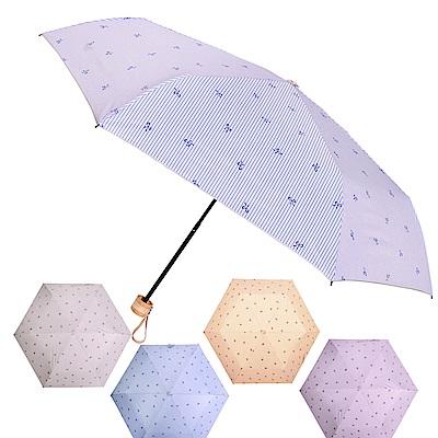 [團購1入組] 2mm 銀膠抗UV 蝴蝶結條紋輕量手開傘