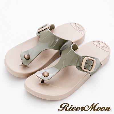 River&Moon拖鞋-休閒百搭Q軟防水夾腳涼拖鞋-軍綠