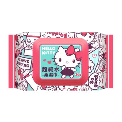 Sanrio 三麗鷗 Hello Kitty 凱蒂貓 超純水加蓋濕紙巾 30抽X10包/組