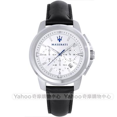 MASERATI 瑪莎拉蒂三眼計時真皮手錶-銀X黑/44mm