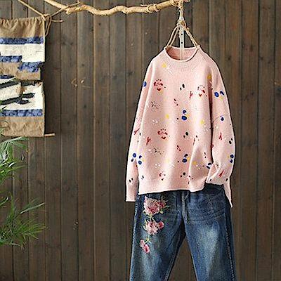 水彩墨寬鬆毛衣半高領針織上衣-Y4720-設計所在
