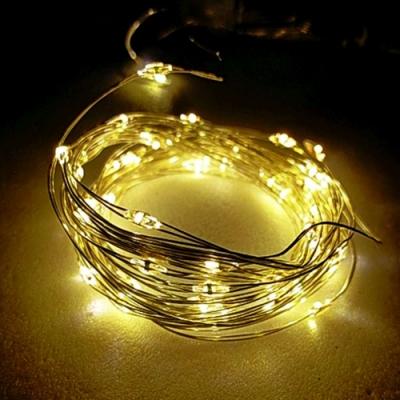 50燈LED銅線燈串暖白光-USB電池盒兩用充電-浪漫星星燈聖誕燈串