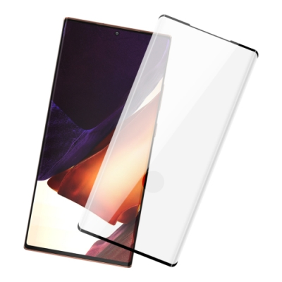 三星 Galaxy Note20 Ultra 曲面全膠貼合 9H鋼化玻璃膜 手機 保護貼 曲面黑x1 ( Note20Ultra保護貼 )