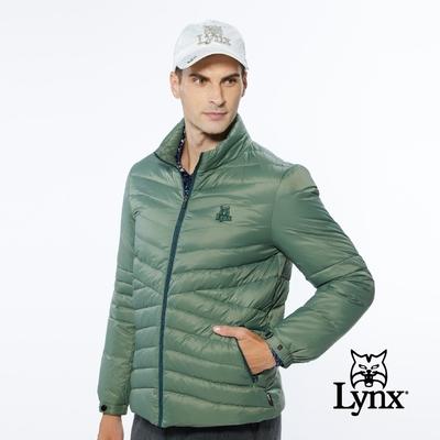 【Lynx Golf】男款保暖羽絨山貓織標LOGO夾標設計長袖外套-墨綠色