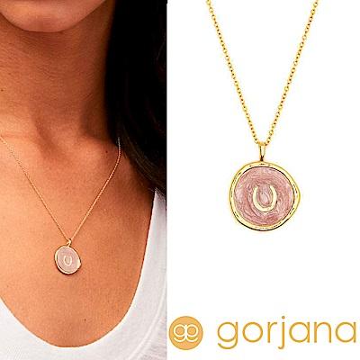 GORJANA Horseshoe Coin 金色馬蹄項鍊 粉紅色琺瑯硬幣項鍊 幸運女神