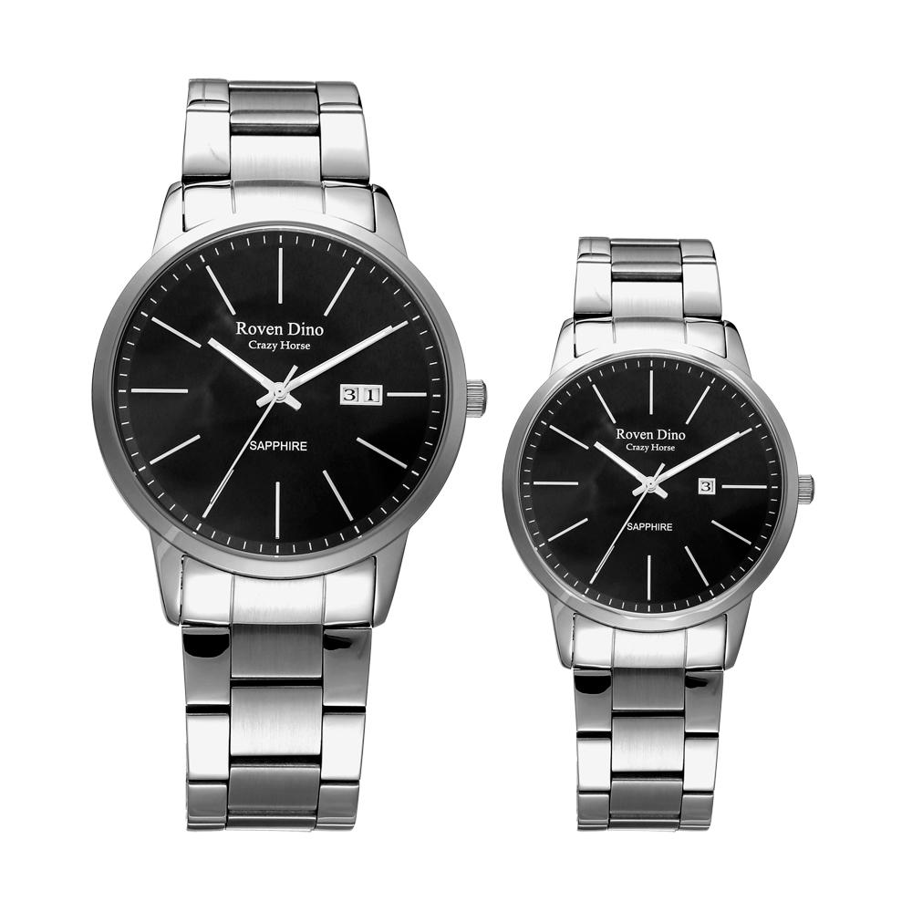 Roven Dino羅梵迪諾  伴點時尚風采日期對錶-銀X黑(RD6064-278B)