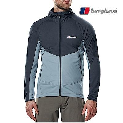 【Berghaus貝豪斯】男款輕量彈性透氣連帽刷毛保暖外套H22M46灰色/灰色