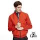 【Lynx Golf】男款防風保暖羊毛材質菱格紋剪接長袖外套-橘色 product thumbnail 2