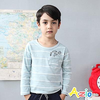 Azio Kids 上衣 小恐龍印花單口袋條紋圓領長袖T恤(藍)