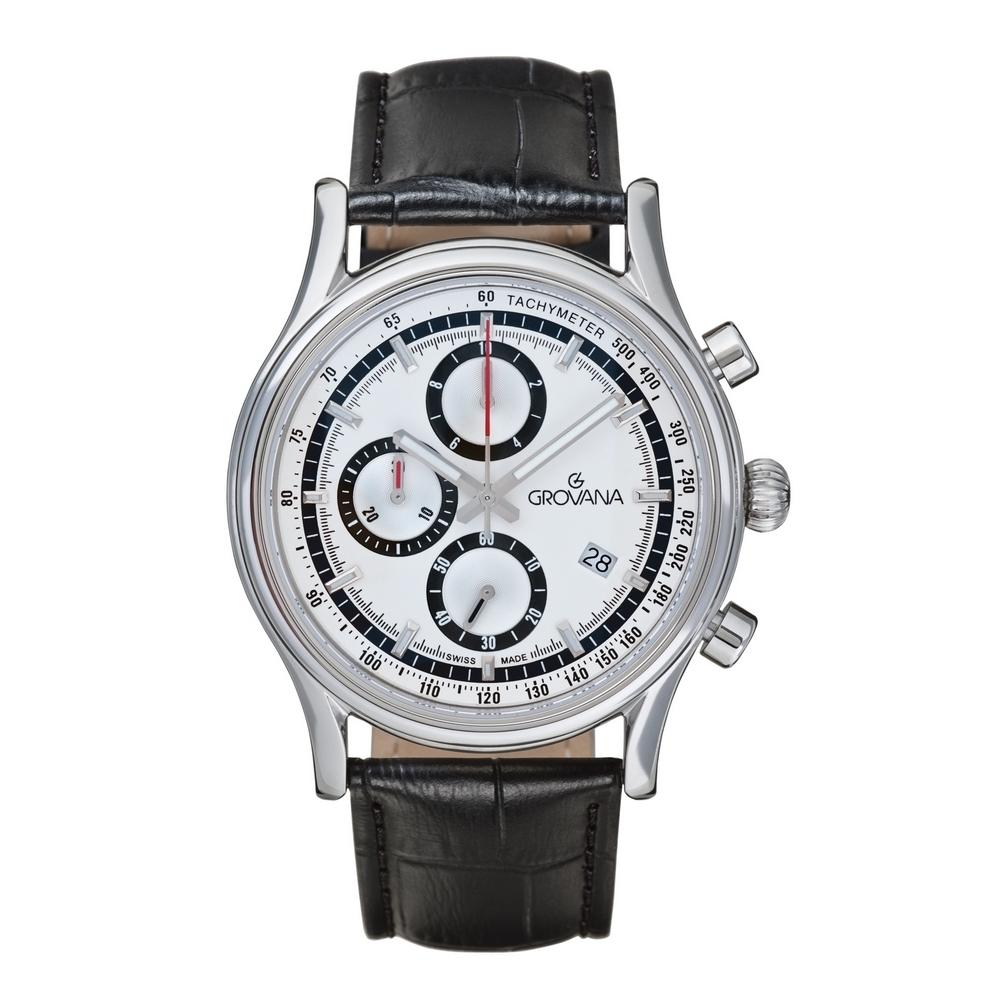(福利品) GROVANA瑞士錶 Specialties系列三眼計時石英男錶(1730.9532)-白面x黑色皮帶/41mm