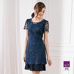 ILEY伊蕾 雪紡造型縷空蕾絲洋裝(紫/藍)