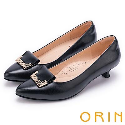 ORIN 典雅時尚女人 菱格金屬片妝點羊皮低跟鞋-黑色