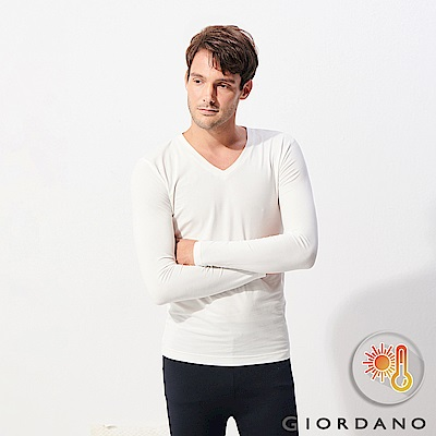 GIORDANO 男裝Beau-warmer plus+彈力V領極暖衣-02 白色