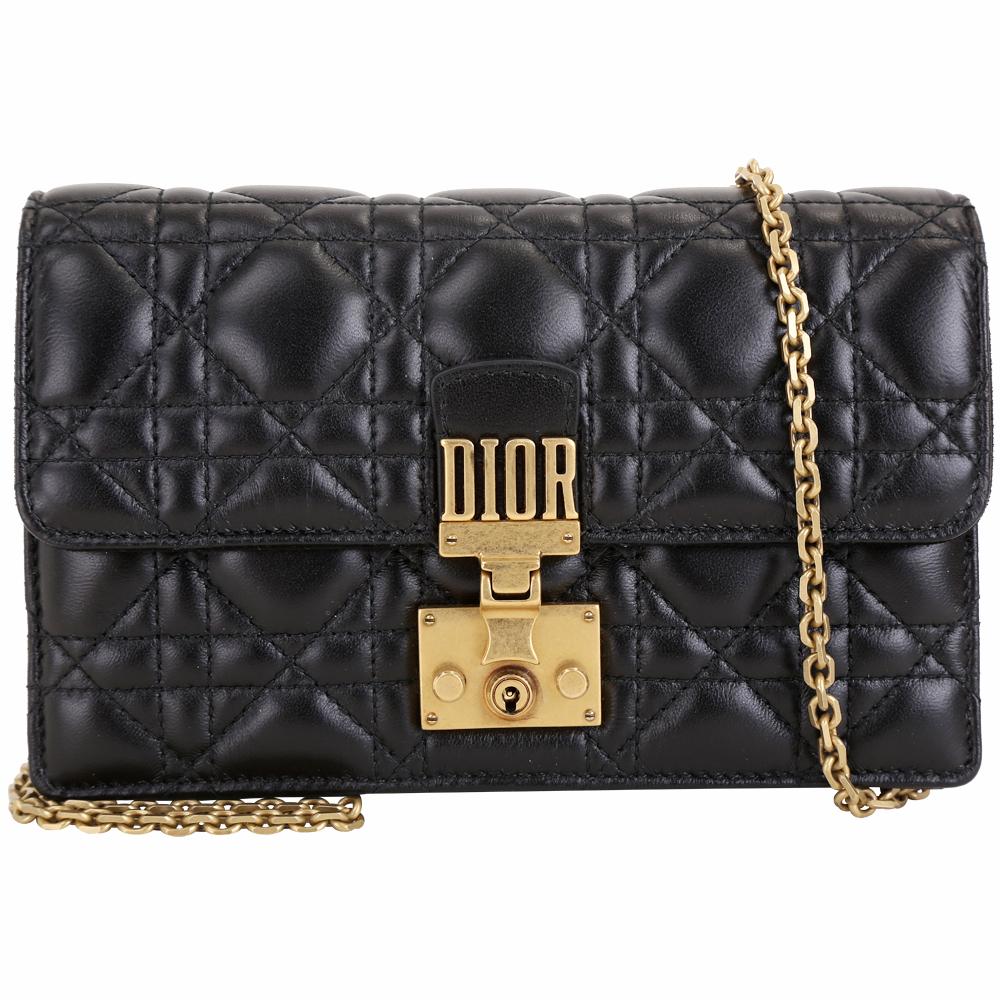 (無卡分期12期) Dior DIORADDICT 頂級小羊皮籐格紋晚宴包(黑色) @ Y!購物