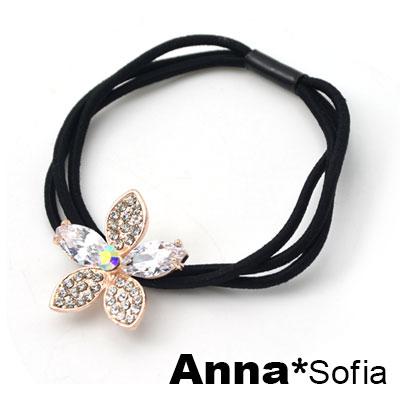 AnnaSofia 漫晶綻鑽花 純手工彈性髮束髮圈髮繩(白晶系)