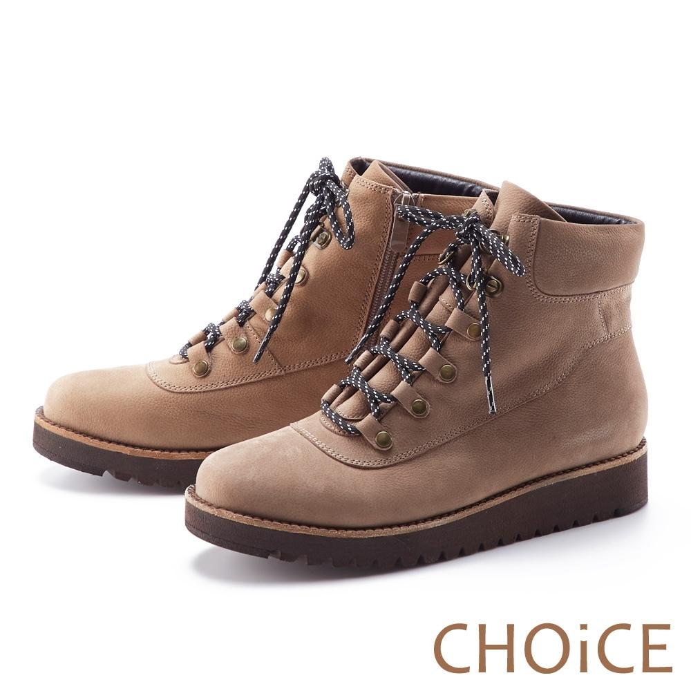 CHOiCE 荔枝紋真皮綁帶帥氣 女 短靴 可可