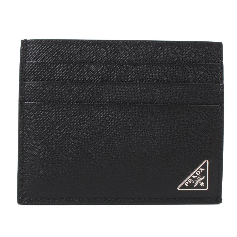 PRADA Saffiano 經典三角牌防刮牛皮萬用卡片夾(經典黑)PRADA
