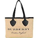 BURBERRY The Giant 圖案印花黃麻中型托特包(黑色)