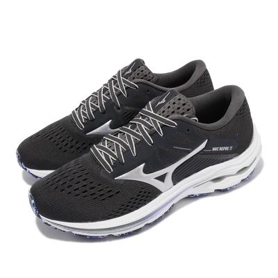 Mizuno 慢跑鞋 Wave Inspire 17 運動 女鞋 美津濃 路跑 緩震 輕量 透氣網布 灰 紫 J1GD214493