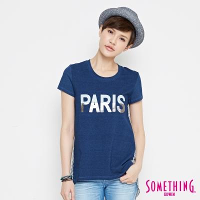 SOMETHING 巴黎條紋雪紡剪接T恤-女-拔洗色