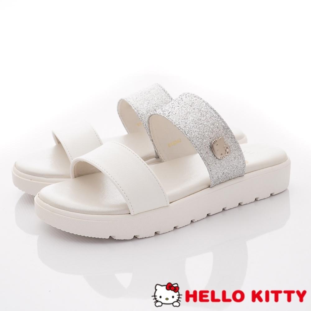 HelloKitty童鞋 亮片簡約涼鞋款 EI19242白(大童親子段)