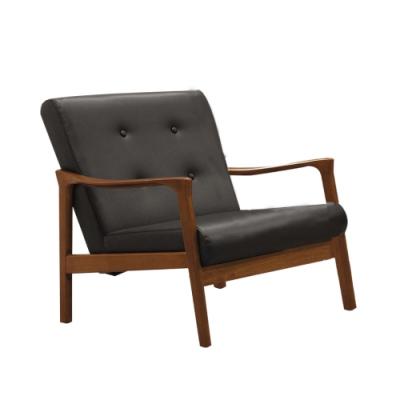 文創集 奧布現代風皮革實木單人座沙發椅-65x73x77.5cm免組