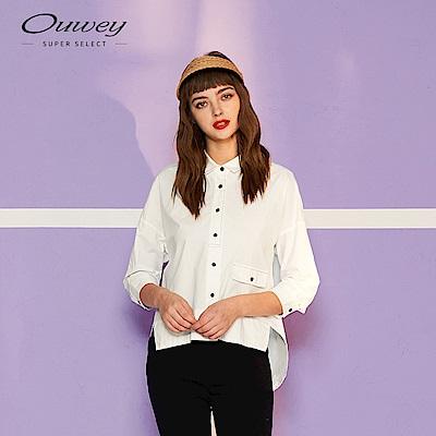 OUWEY歐薇 俐落簡約七分袖襯衫(白)