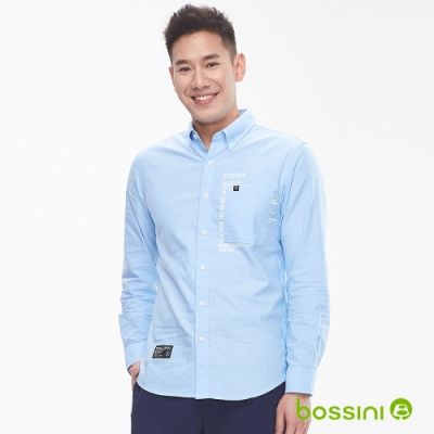 bossini男裝-圖案長袖襯衫04淺藍