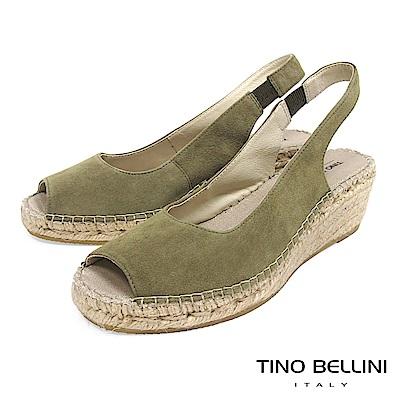 Tino Bellini 西班牙進口簡約麂皮魚口麻編楔型涼鞋 _ 綠