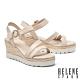 涼鞋 HELENE SPARK 夏日清新繫帶異材質撞色楔型高跟涼鞋-米 product thumbnail 1
