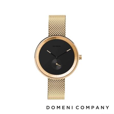 DOMENI COMPANY 經典系列 316L不鏽鋼單眼錶 金色錶帶 -黑/32mm