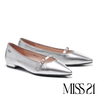 跟鞋 MISS 21 小摩登珠飾點綴條帶釦尖頭低跟鞋-銀