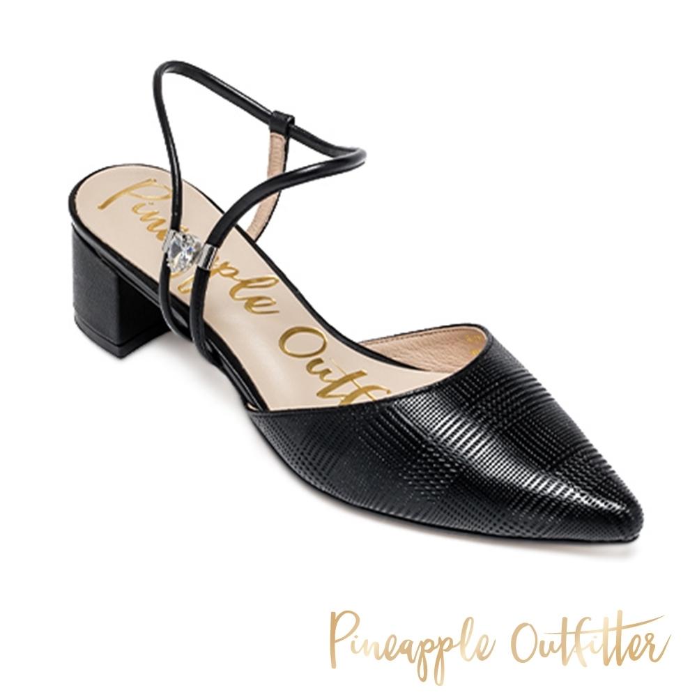 Pineapple Outfitter 氣質閃鑽繞踝中跟涼鞋-黑色