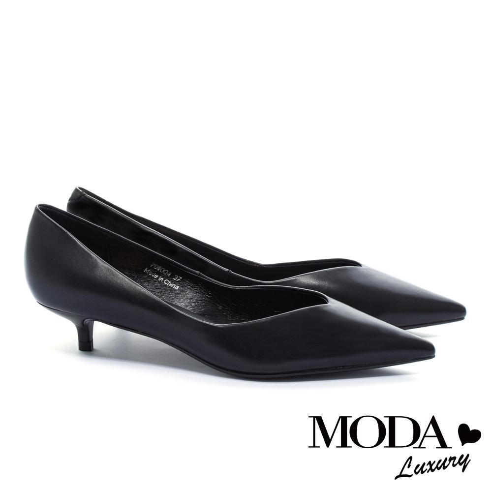 低跟鞋 MODA Luxury 極簡時尚品味羊皮尖頭低跟鞋-黑