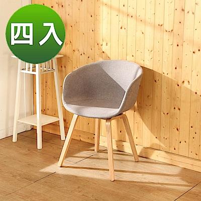 BuyJM北歐亞麻曲木餐椅/休閒椅4入組/寬48x44x81公分-DIY