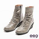 ee9 MIT經典手工系列~簡約素面立體抓皺個性楔型短靴~灰色