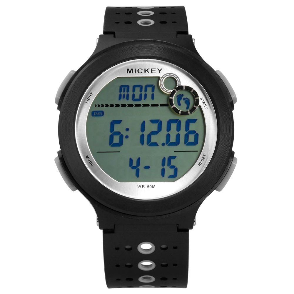 Disney 迪士尼 米奇系列 運動記步 計時 兒童 卡通 電子橡膠手錶-黑色/44mm