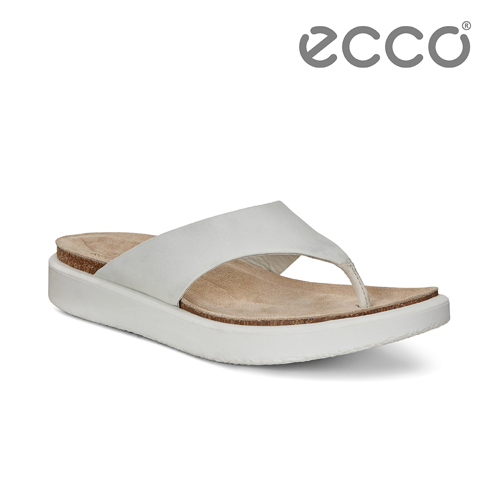 ECCO CORKSPHERE SANDAL W 素色皮革休閒人字拖鞋 女-白