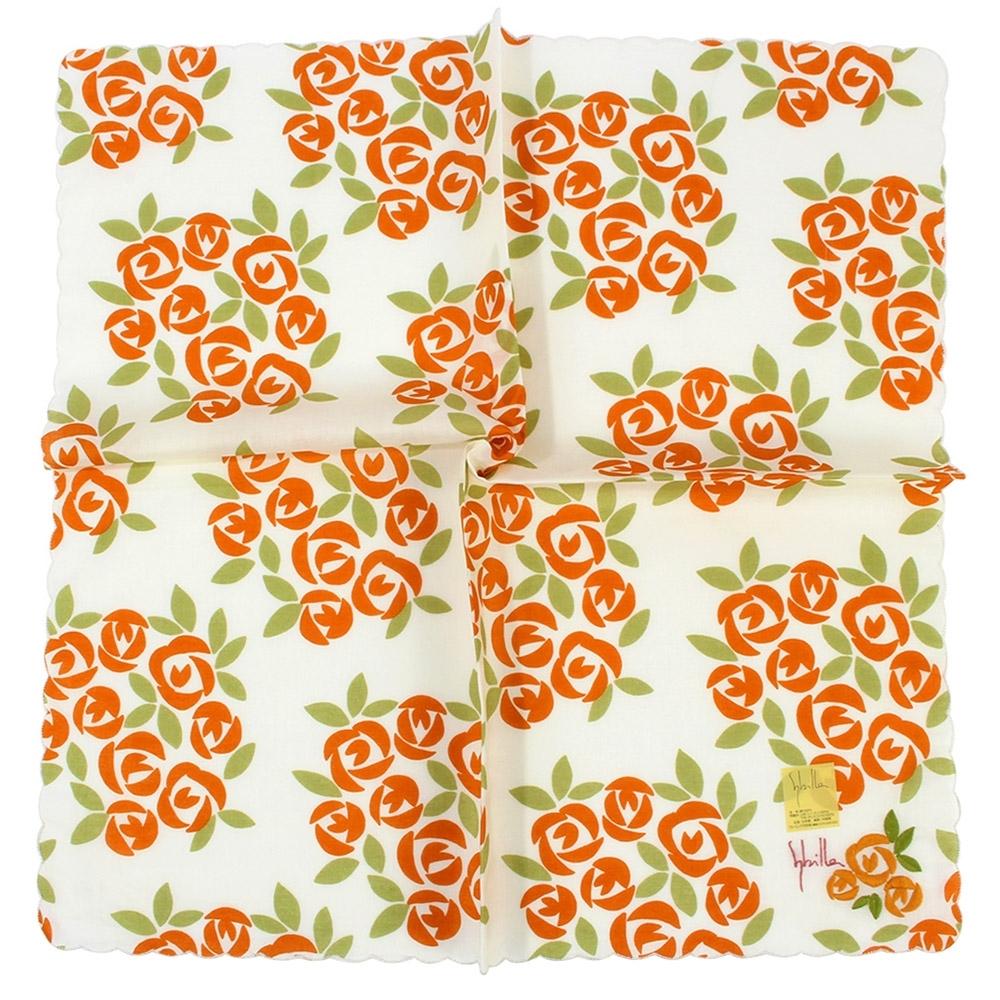 Sybilla 刺繡玫瑰花叢波浪滾邊純綿帕巾-橘色