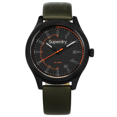 Superdry 極度乾燥 復古時尚軍事日本機芯真皮手錶-深灰x黑框x墨綠/44mm