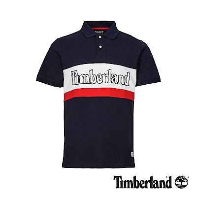 Timberland 男款深藍寶石色撞色單珠地修身短袖POLO衫|A1XDP