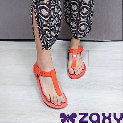 Zaxy 巴西 女 繽紛原色T字涼鞋-紅色