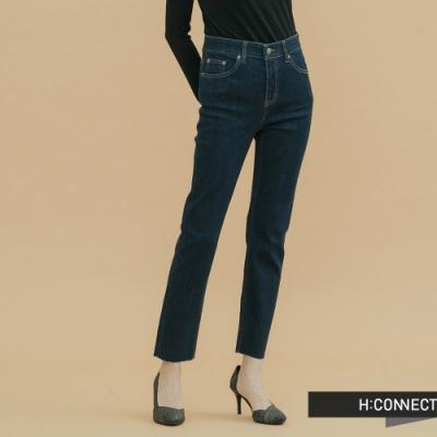 H:CONNECT 韓國品牌 女裝- 微彈直筒刷色牛仔褲-深藍