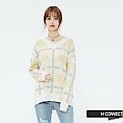 H:CONNECT 韓國品牌 女裝-彩格配色V領針織上衣-卡其 - 動態show
