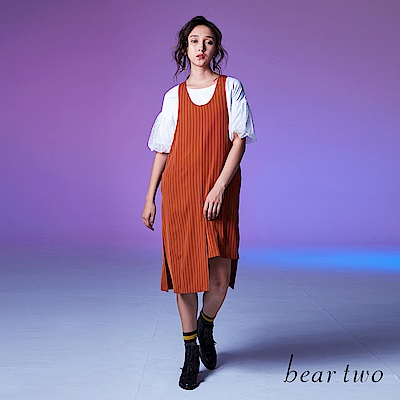 beartwo 時尚直條紋不對稱寬袖攏連身裙(二色)