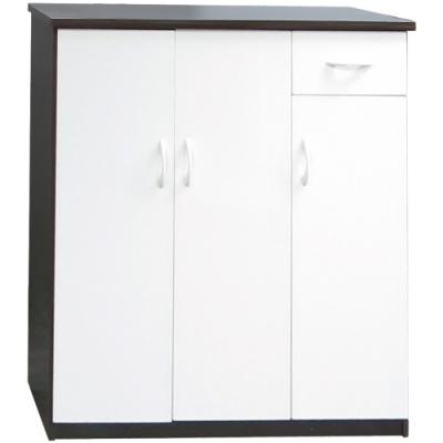 文創集 森活3.2尺塑鋼三門單抽鞋櫃/玄關櫃(八色)-97x43x112cm免組