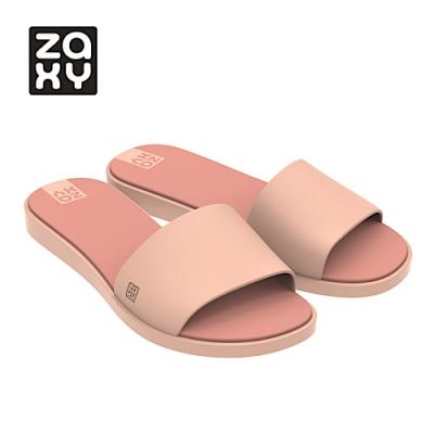Zaxy FRESH配色簡約一字拖鞋-杏