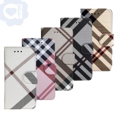 Aguchi 亞古奇 Samsung Galaxy Note20 5G 英倫格紋氣質手機皮套 側掀磁扣支架式皮套 限量發行
