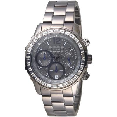 GUESS 晶鑽放閃三眼碼錶計時手錶-全IP黑-GWW0016L3-40mm