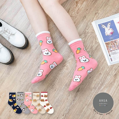 阿華有事嗎  韓國襪子 毛毛襪口滿版動物食物中筒襪 韓妞必備 正韓百搭純棉襪